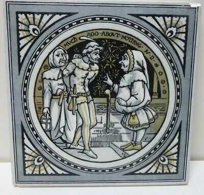 Antique Tile Shakespeare Minton Works Stoke On Trent Much Ado About Nothing