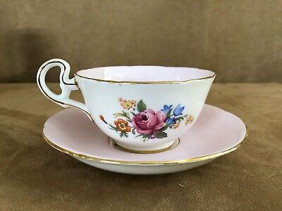 Royal Grafton vintage china tea cup & saucer porcelain coffee pink floral white