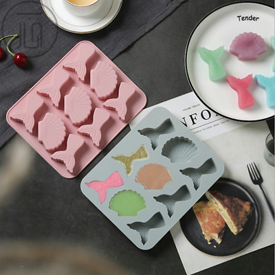 Mermaid Tail Shell Cake Chocolate Baking Mold Ice Cube Tray Jelly Candy Mould