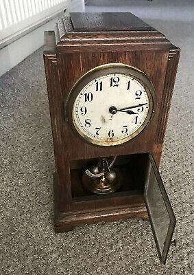 Rare Vintage Wooden Mantel Clock With Brass Workings