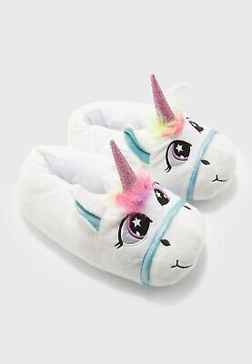 Jezabelle Womens Loungeable Novelty 3D Unicorn Slippers Size 5/6 BNWT White/Blue