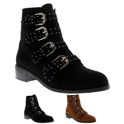 Ladies Studded Low Heel Fashion Gothic Lace Up Biker Retro Ankle Boots All Sizes