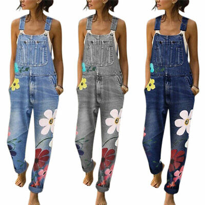 Womens Ladies Denim Jeans Dungarees Flower Jumpsuit Bib Pants Trousers Overalls