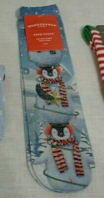 1 PR GIRLS CREW SOCKS BLUE GLITTER W// PENGUINS WONDERSHOP ONE SIZE FITS MOST NWT