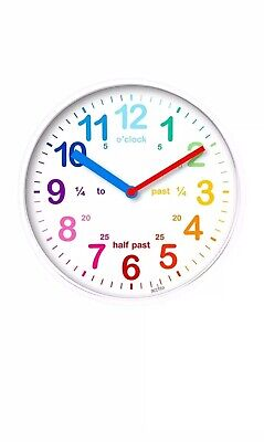 Kids White 20cm Wall Clock Colourful Dial Learn To Tell The Time Bedroom Clock