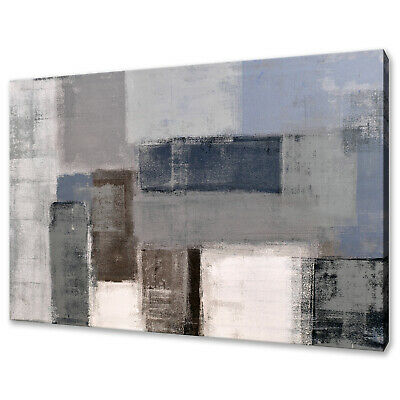 GREY WHITE BLUE TEAL ABSTRACT OIL PAINTING STYLE CANVAS PRINT WALL ART PICTURE