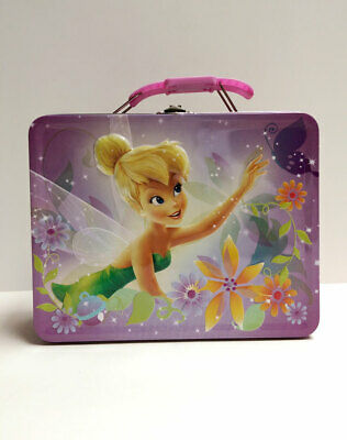 Disney Fairies Tinker bell Tin Lunch Box Embossed Storage Girls Tote Bag NEW