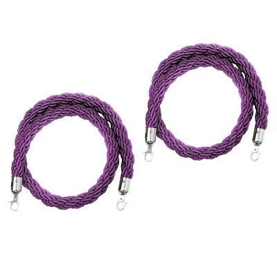 Lot of 2, Nylon Twist Finish Rope w/ End Hooks for Crowd Line Barrier Post