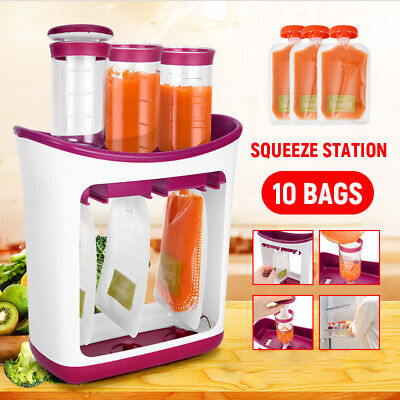 Infantino Squeeze Station Baby Feeding Fruit Food Maker Reusable 10 Pouches Bags