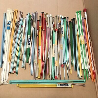 82 Pairs of Coloured Knitting Needles - Mainly Plastic Inc Vintage Button Top