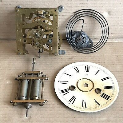 Junghans Clock Movement, Face, Gong, Double Barrel Pendulum - Vintage Parts