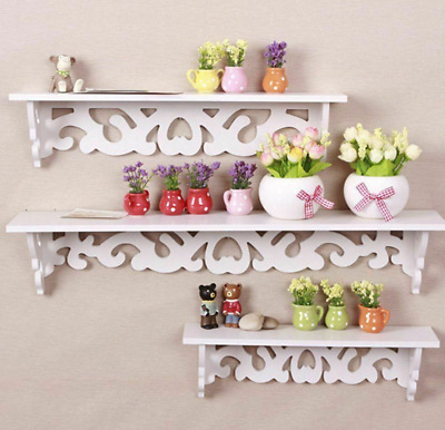 3 Tiers White Wood Carved Floating Display Rails Storage Rack Wall Shelves Unit