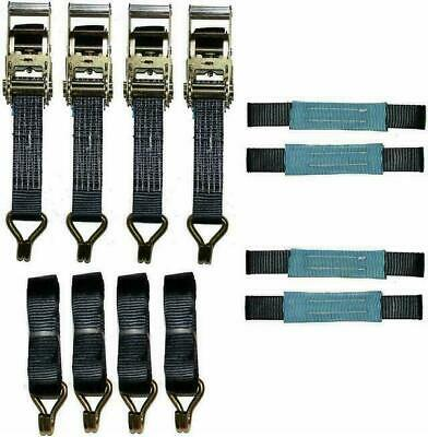 4 x 4mtr Black Recovery Strap Short Handles Soft Ring Transporter Ratchet…