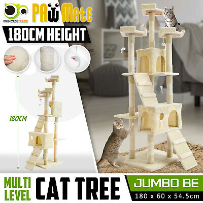Cat Tree Scratching Post Scratcher Pole Gym House Furniture Multi Level 180cm BE