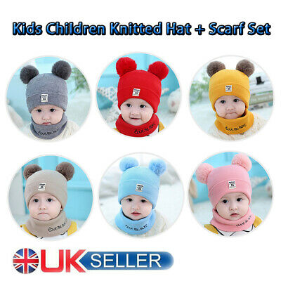 Kids Baby Children Knitted Beanie Hat and Scarves Set Pom Poms Warm Winter