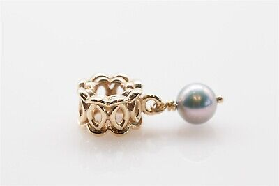 Signed Pandora $350 14k Yellow Gold 5mm Cultured Pearl SLIDE CHARM