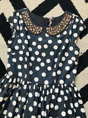 ☀NEXT GIRLS PARTY DRESS☀Age 12 11☀GREY SPOTS☀GOLD JEWELLED COLLAR☀Christmas☀