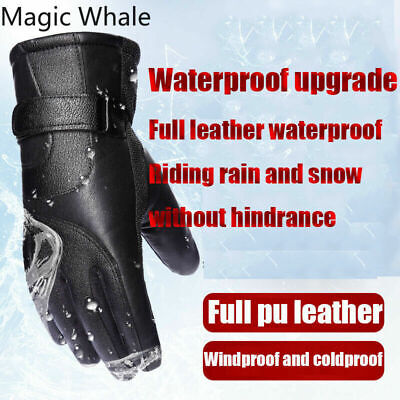 Men Winter Gloves Touch Screen Snow Windproof Waterproof Leather Thick