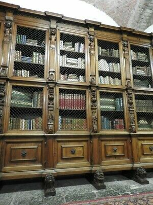 Important Antique Large Bookcase Tuscany Walnut Solid Rich Sculpture Period