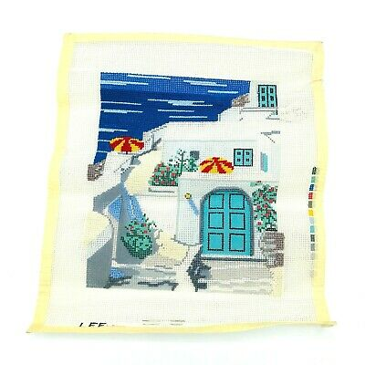 Hand Painted Needlepoint Pattern Canvas Beach House Santorini Signed Lee