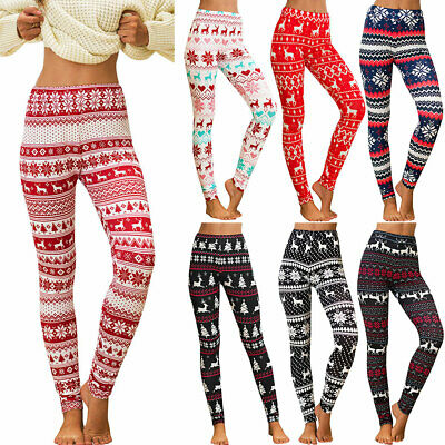 Women Christmas Xmas Leggings Yoga Gym Sports Jogging Pants Slim Skinny Trousers