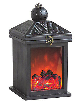 Large Cosy Black Hanging Fireplace Flame Effect Style Metal Lantern Home Decor