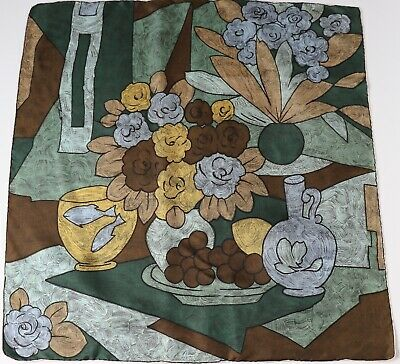 Vintage Silk Scarf - 1950s / 1960s - Brushstroke - Still Life - Medium