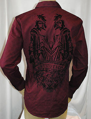 Nwt G par Guess Hommes Restitution Bouton Manches Longues Bas Robe Chemise Rouge