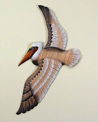 Wall Sculptures - Flying Pelican Wooden Wall Sculpture - Nautical Decor