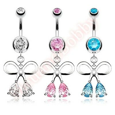 CZ Bow Ribbon Belly Button Bar Ring Navel Dangle Barbell Body Piercing Jewellery