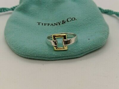 Tiffany & Co. Sterling Silver & 18K Gold Square Buckle Ring Size - 6