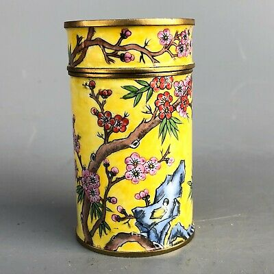 Chinese Old Cloisonne Collectible Vintage Handwork Peach Blossom Toothpick Box
