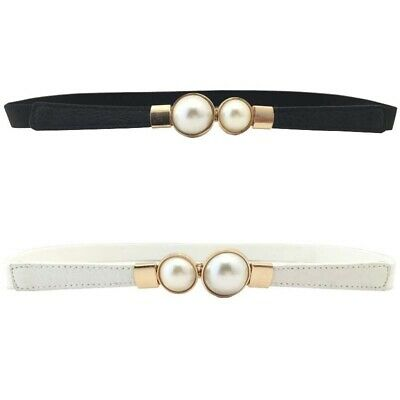Woman's Pearl Belts Red Pu Leather Thin Design Stylish Narrow Strap Waistabands