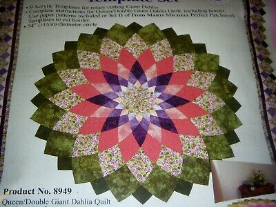"""NEW Marti Michell 8949 Giant Dahlia Template Set, 54"""" Queen/Double Quilt"""