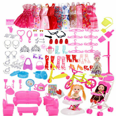 118Pcs Items for Barbie Doll Party Dresses Shoes Jewellery Accessories Girl Gift