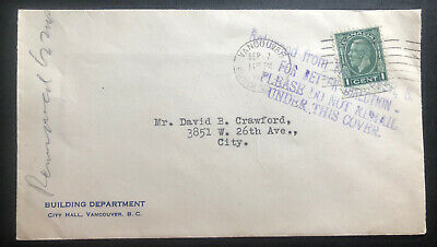 1938 Vancouver Canada Building Department Cover Locally Used