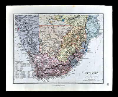 1885 Stanford Map South Africa Cape Colony Kalahari Natal Transvaal Antique