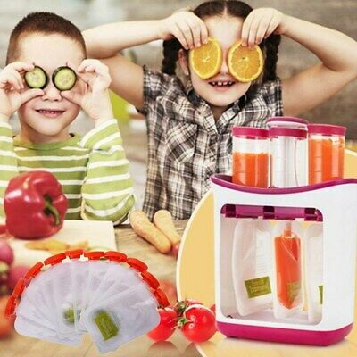 Fresh Food Squeezed Squeeze Station Baby Weaning Puree Reusable Pouches Maker