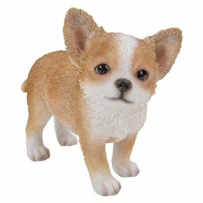 New PUPPY DOG Figurine Statue CHIHUAHUA TAN CREAM Sculpture Figure HOME DECOR