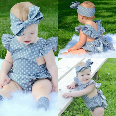 Summer Newborn Baby Girl Ruffle Solid Romper Bodysuit Jumpsuit Outfit Clothes