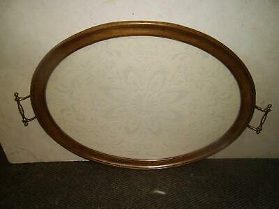 Very Old Large Oval Tea Tray With Lace Insert Glazed Brass  Handles Early C20Th