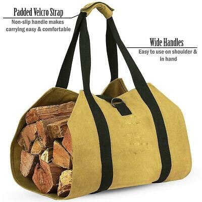 Firewood Log Carrier Bag Waxed Canvas Fire Wood Holder for Fireplace Stove Acce