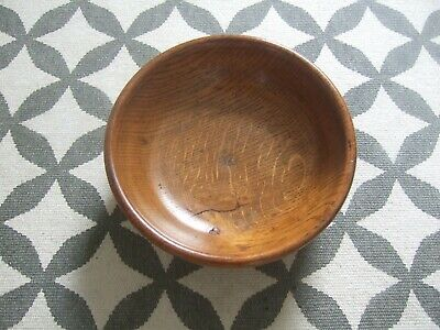 Small Vintage Wooden Fruit Bowl mid century heavy 20cm diameter rustic