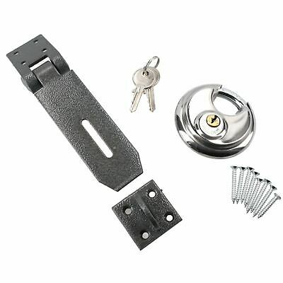 Heavy Duty Hasp and Staple Complete With 70mm Circular Padlock Security