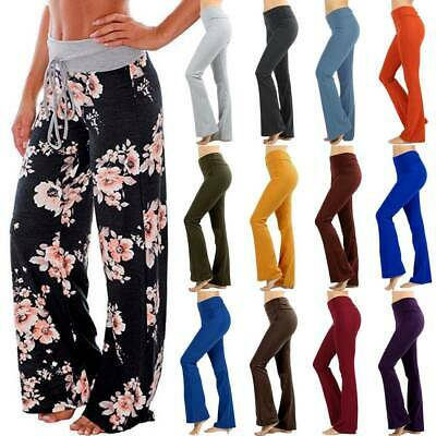 Women Plus Size Fold Over Cotton Stretch Flare Leg Boot Cut Yoga Pants Trousers