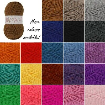 King Cole Big Value Chunky Wool Yarn Knitting 100% Premium Acrylic 100g
