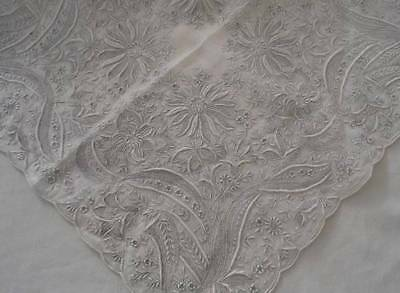 Vintage Madeira Bridal Hanky Encrusted Gray on White Embroidery Honeycomb Lace B
