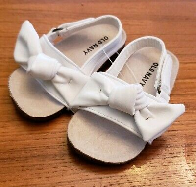 NEW Old Navy Baby Girls 18-24 MONTHS Bow Sandals WHITE Adjustable Strap #10419