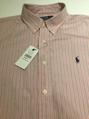 Polo Ralph Lauren Gents Men's Pink Cotton Classic Fit Striped Shirt Large Nwt