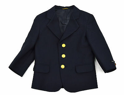 NEW CLAIBORNE Boys Navy Blue Wool Blend Gold Crest Btn Lined Sportcoat ~ Sz 4T